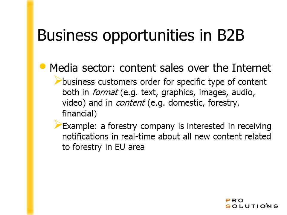 8 Business opportunities in B2B Media sector: content sales over the Internet  business customers order for specific type of content both in format (e.g.