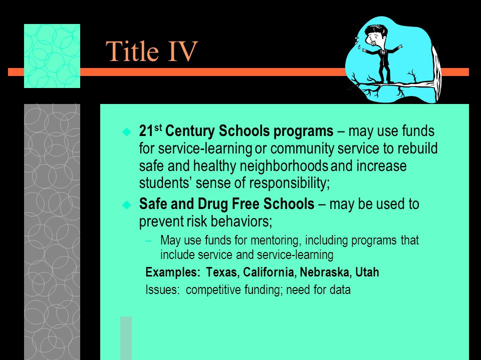 Title IV  21 st Century Schools programs – may use funds for service-learning or community service to rebuild safe and healthy neighborhoods and increase students' sense of responsibility;  Safe and Drug Free Schools – may be used to prevent risk behaviors; –May use funds for mentoring, including programs that include service and service-learning Examples: Texas, California, Nebraska, Utah Issues: competitive funding; need for data