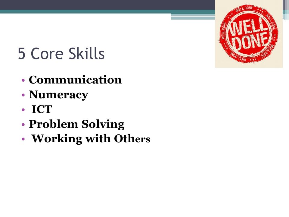 5 Core Skills Communication Numeracy ICT Problem Solving Working with Oth ers