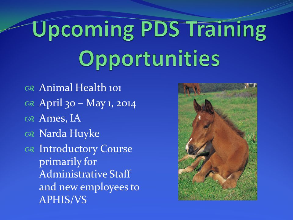  Animal Health 101  April 30 – May 1, 2014  Ames, IA  Narda Huyke  Introductory Course primarily for Administrative Staff and new employees to AP