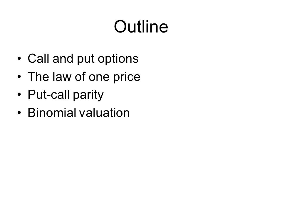 Outline Call and put options The law of one price Put-call parity Binomial valuation