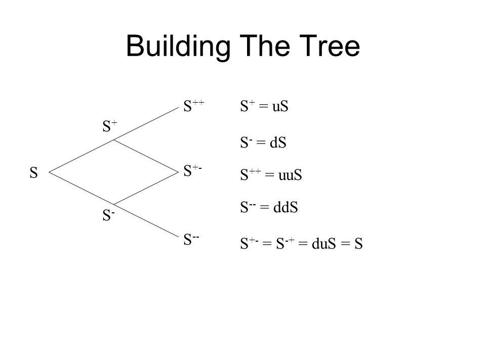 Building The Tree S S+S+ S-S- S -- S +- S ++ S + = uS S - = dS S ++ = uuS S -- = ddS S +- = S -+ = duS = S