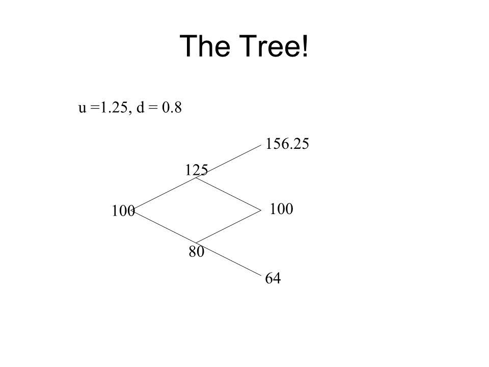 The Tree! u =1.25, d = 0.8 100 80 125 100 156.25 64