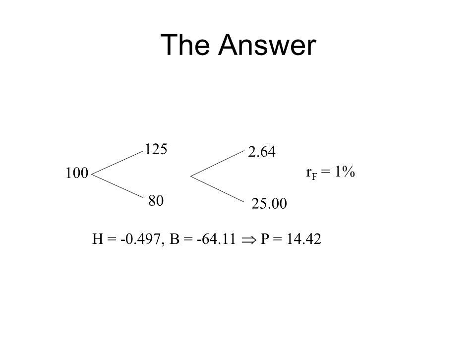 The Answer 100 80 125 25.00 2.64 r F = 1% H = -0.497, B = -64.11  P = 14.42