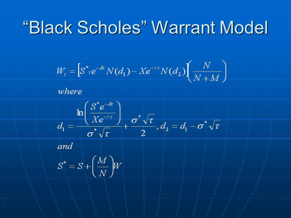 Black Scholes Warrant Model