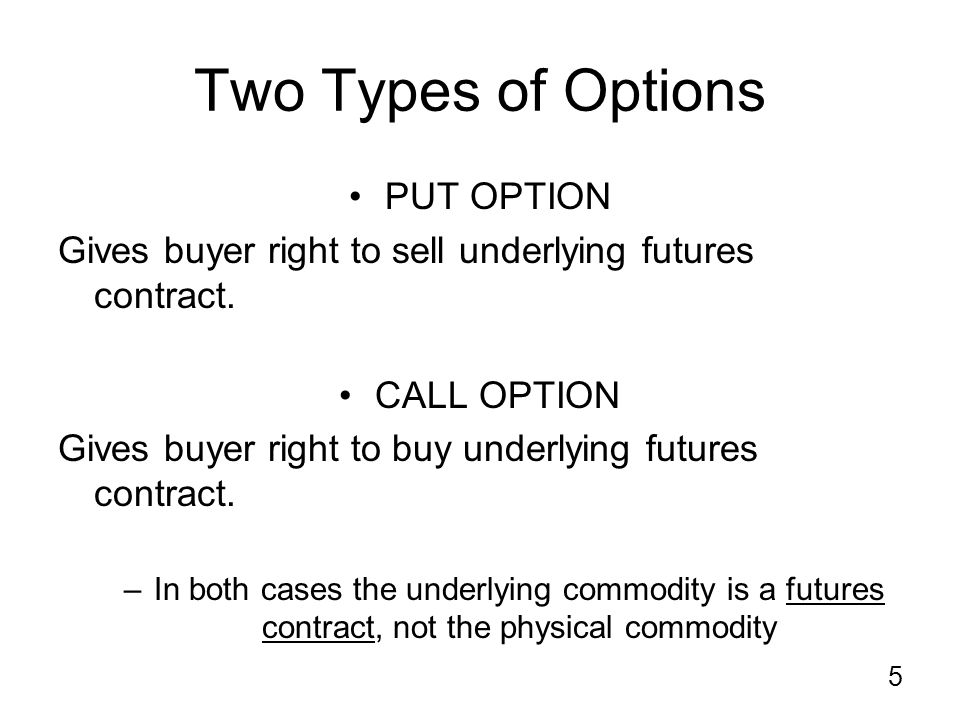 5 Two Types of Options PUT OPTION Gives buyer right to sell underlying futures contract.