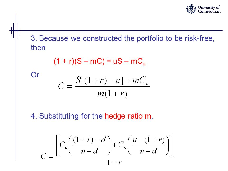 3.Because we constructed the portfolio to be risk-free, then (1 + r)(S – mC) = uS – mC u Or 4.