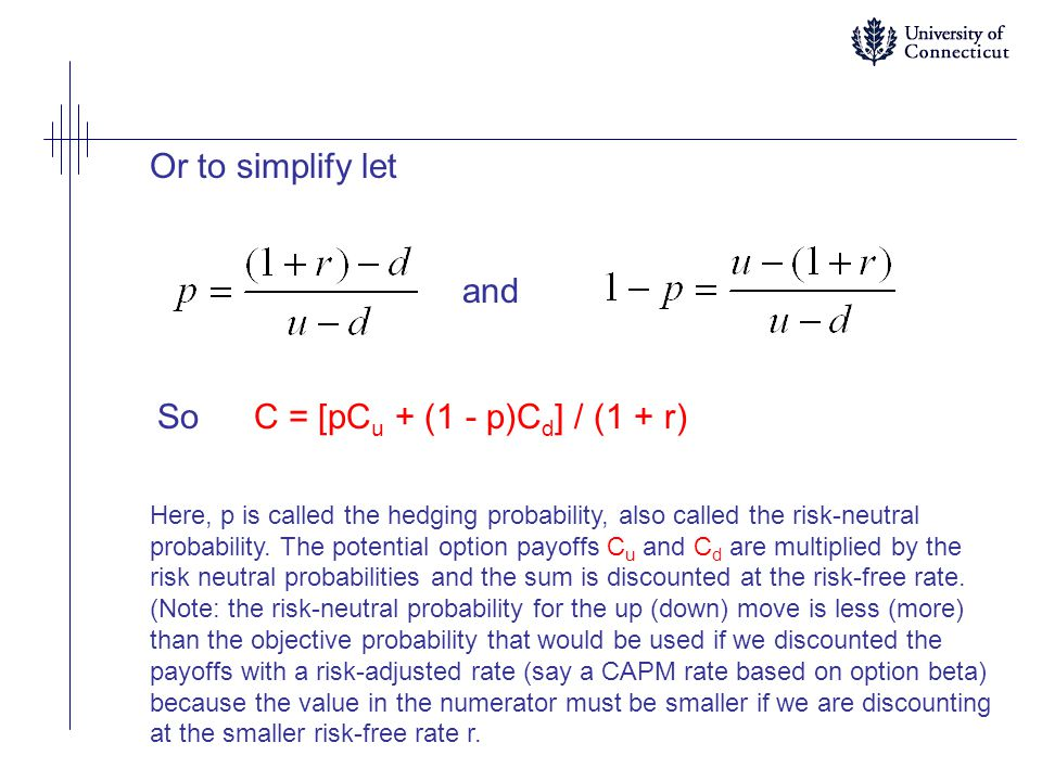 Or to simplify let and SoC = [pC u + (1 - p)C d ] / (1 + r) Here, p is called the hedging probability, also called the risk-neutral probability.
