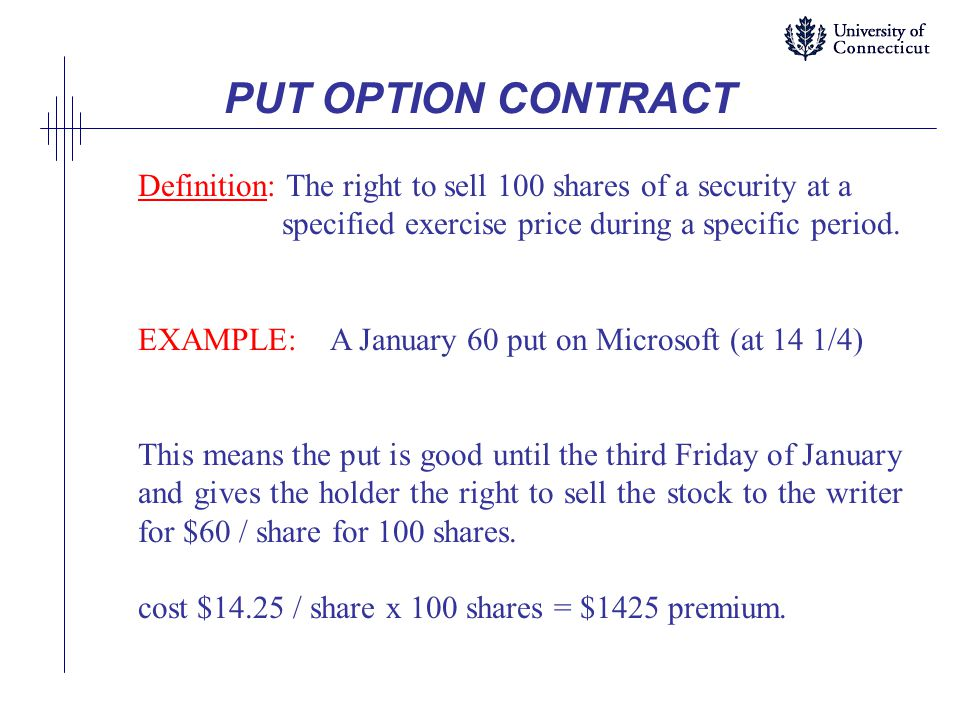 PUT OPTION CONTRACT Definition: The right to sell 100 shares of a security at a specified exercise price during a specific period.
