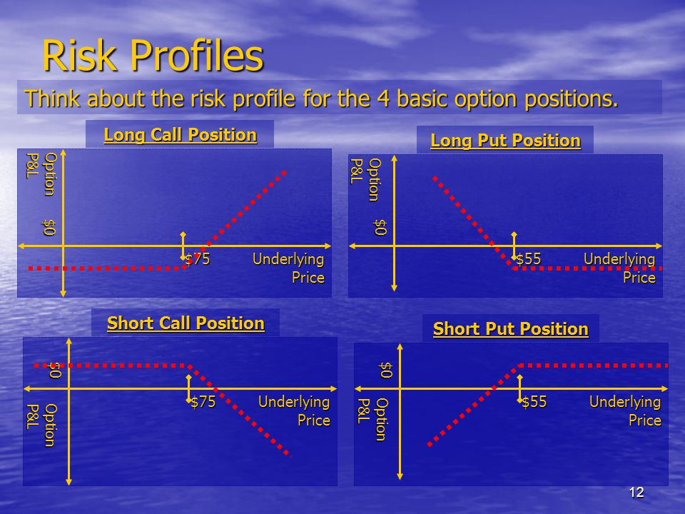 12 Risk Profiles Think about the risk profile for the 4 basic option positions.