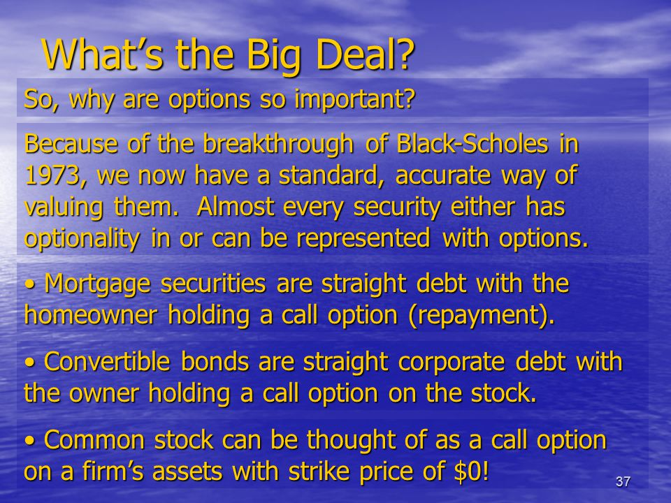 37 What's the Big Deal. So, why are options so important.