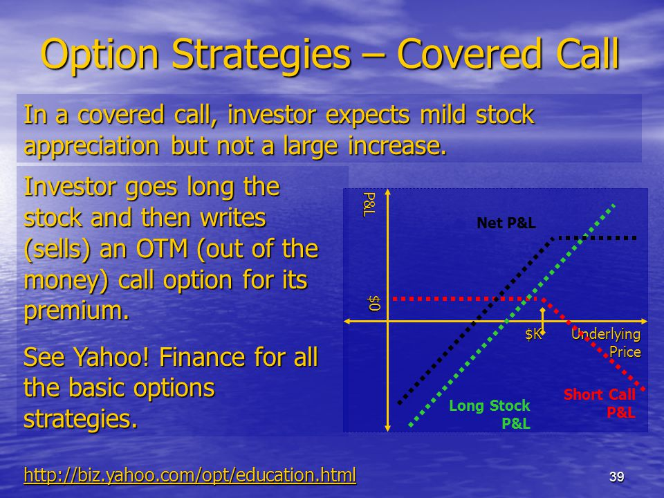39 Option Strategies – Covered Call In a covered call, investor expects mild stock appreciation but not a large increase.