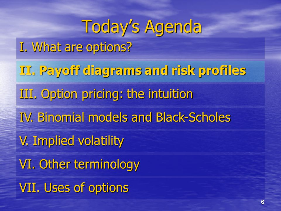 6 Today's Agenda I. What are options. II. Payoff diagrams and risk profiles III.