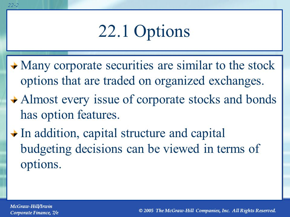 McGraw-Hill/Irwin Corporate Finance, 7/e © 2005 The McGraw-Hill Companies, Inc. All Rights Reserved. 22-2 22.1 Options Many corporate securities are s