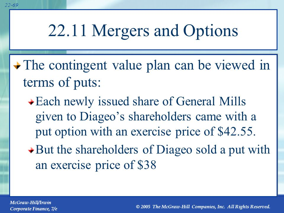 McGraw-Hill/Irwin Corporate Finance, 7/e © 2005 The McGraw-Hill Companies, Inc. All Rights Reserved. 22-69 22.11 Mergers and Options The contingent va