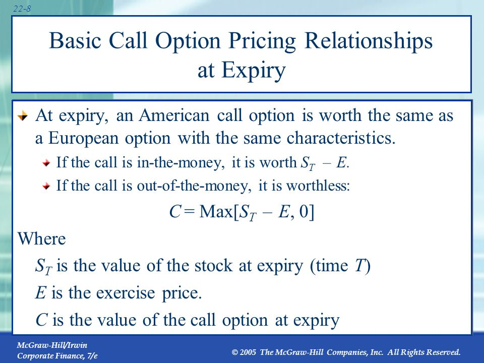 McGraw-Hill/Irwin Corporate Finance, 7/e © 2005 The McGraw-Hill Companies, Inc. All Rights Reserved. 22-8 Basic Call Option Pricing Relationships at E