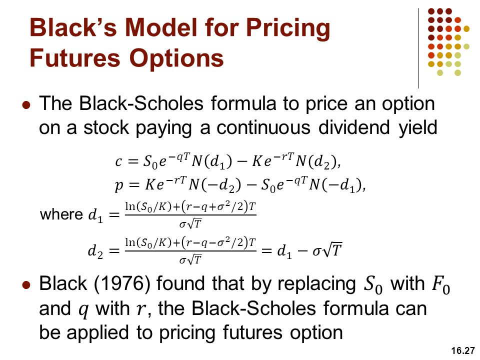 16.27 Black's Model for Pricing Futures Options