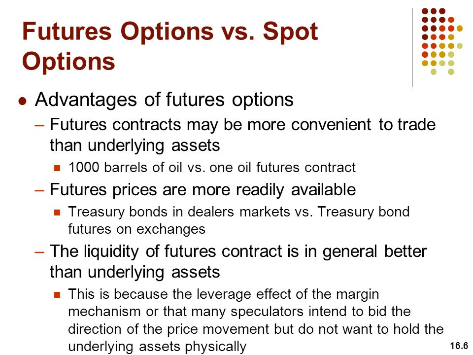 Futures Options vs. Spot Options 16.6 Advantages of futures options –Futures contracts may be more convenient to trade than underlying assets 1000 bar