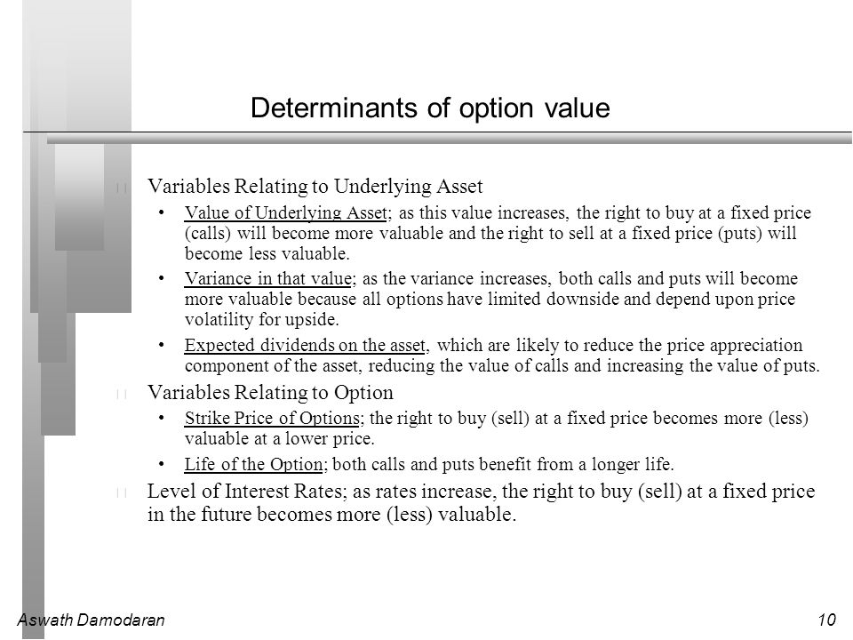 Aswath Damodaran10 Determinants of option value Variables Relating to Underlying Asset Value of Underlying Asset; as this value increases, the right to buy at a fixed price (calls) will become more valuable and the right to sell at a fixed price (puts) will become less valuable.