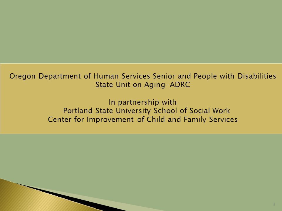 1 Oregon Department of Human Services Senior and People with Disabilities State Unit on Aging-ADRC In partnership with  Portland State University School of Social Work Center for Improvement of Child and Family Services