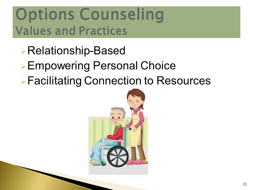  Relationship-Based  Empowering Personal Choice  Facilitating Connection to Resources 23