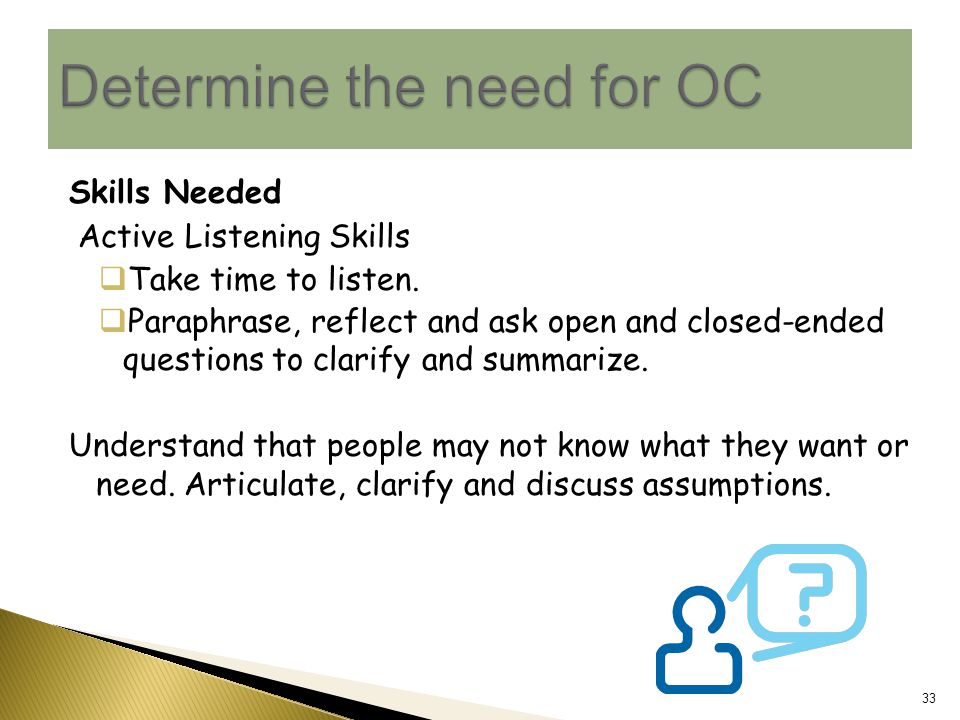 Skills Needed Active Listening Skills  Take time to listen.