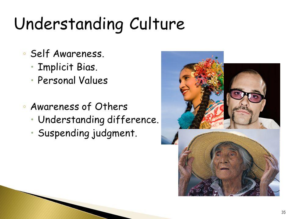 Understanding Culture ◦ Self Awareness.  Implicit Bias.