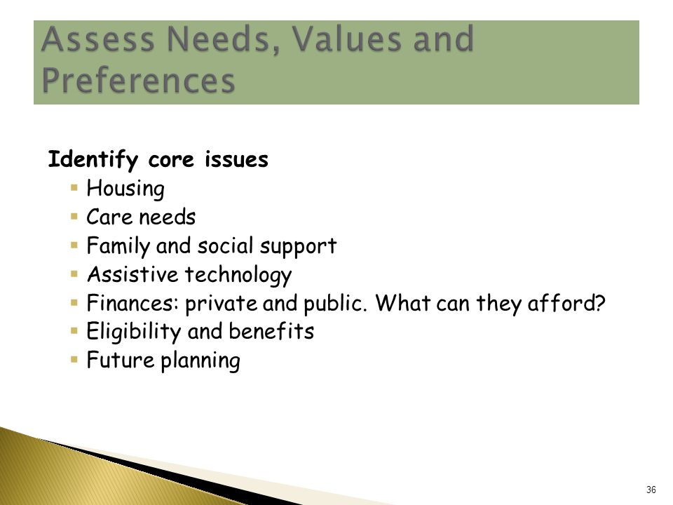 Identify core issues  Housing  Care needs  Family and social support  Assistive technology  Finances: private and public.