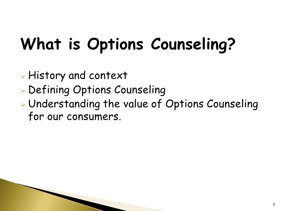 What is Options Counseling.