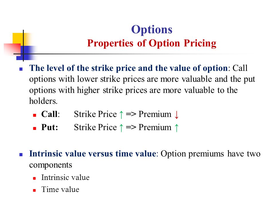 The level of the strike price and the value of option: Call options with lower strike prices are more valuable and the put options with higher strike