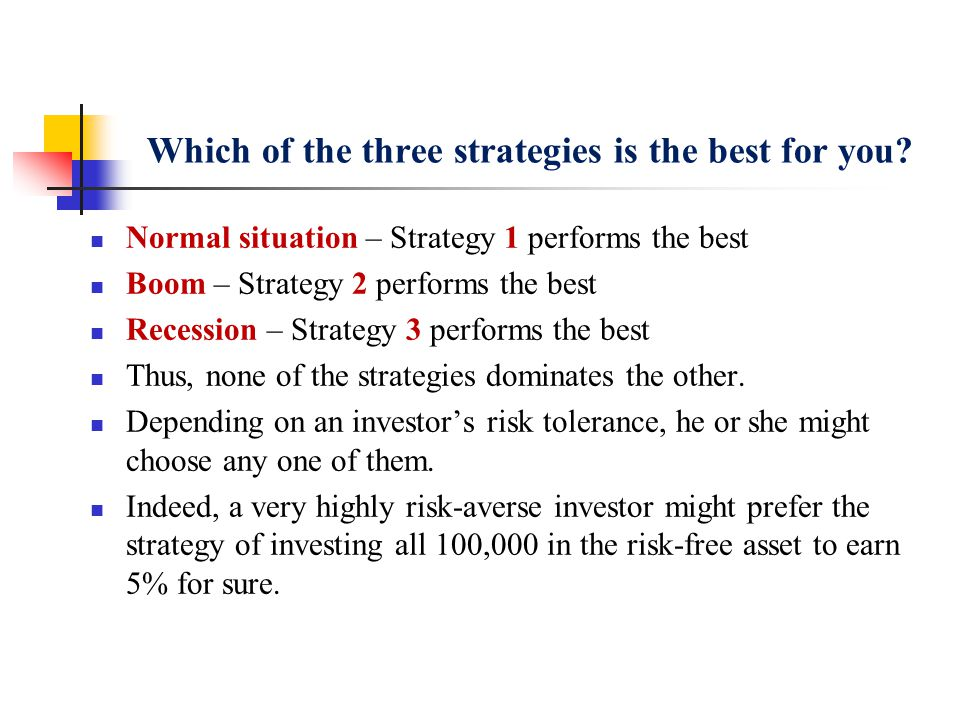 Which of the three strategies is the best for you? Normal situation – Strategy 1 performs the best Boom – Strategy 2 performs the best Recession – Str