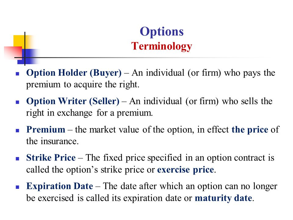Options Terminology Option Holder (Buyer) – An individual (or firm) who pays the premium to acquire the right. Option Writer (Seller) – An individual