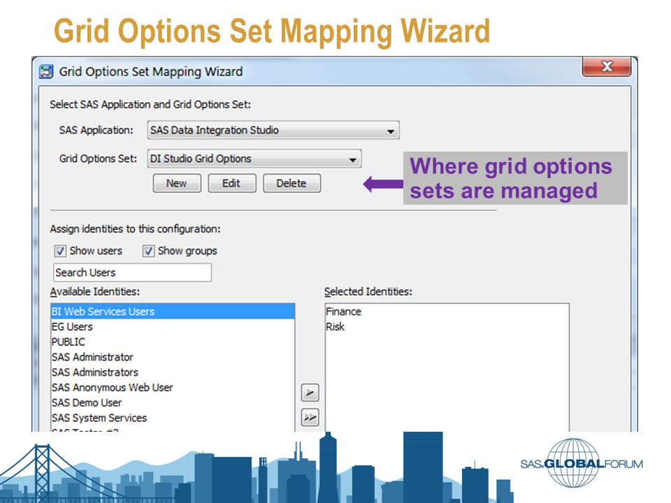 Grid Options Set Mapping Wizard Where grid options sets are managed