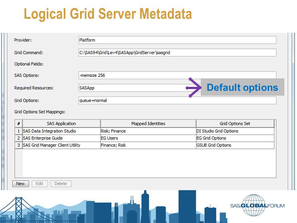 Logical Grid Server Metadata Default options