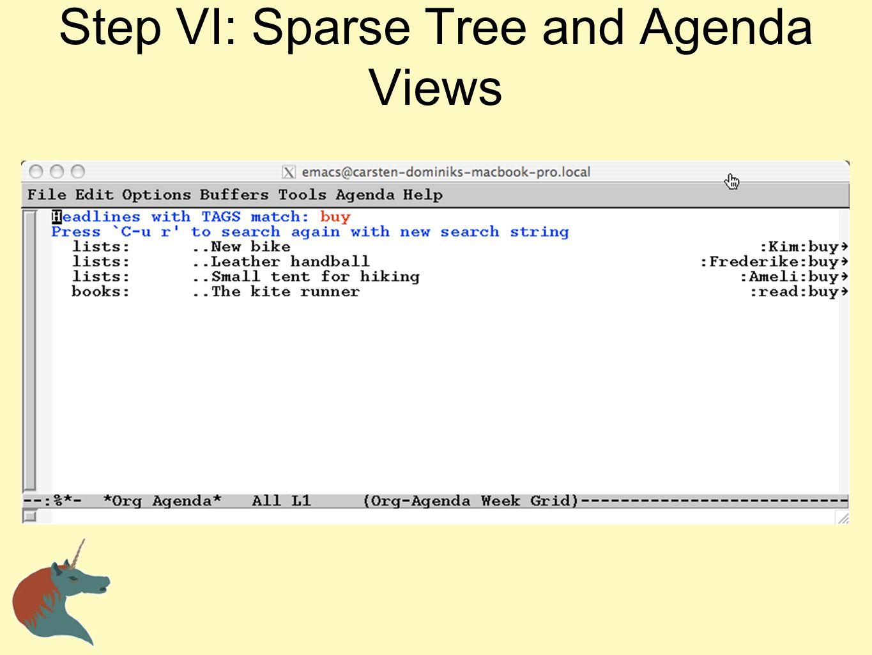 Step VI: Sparse Tree and Agenda Views