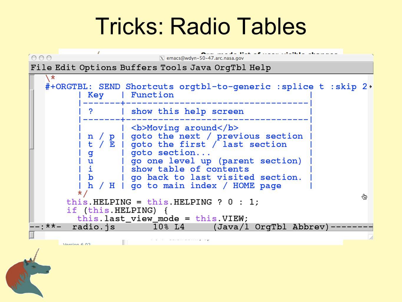 Tricks: Radio Tables