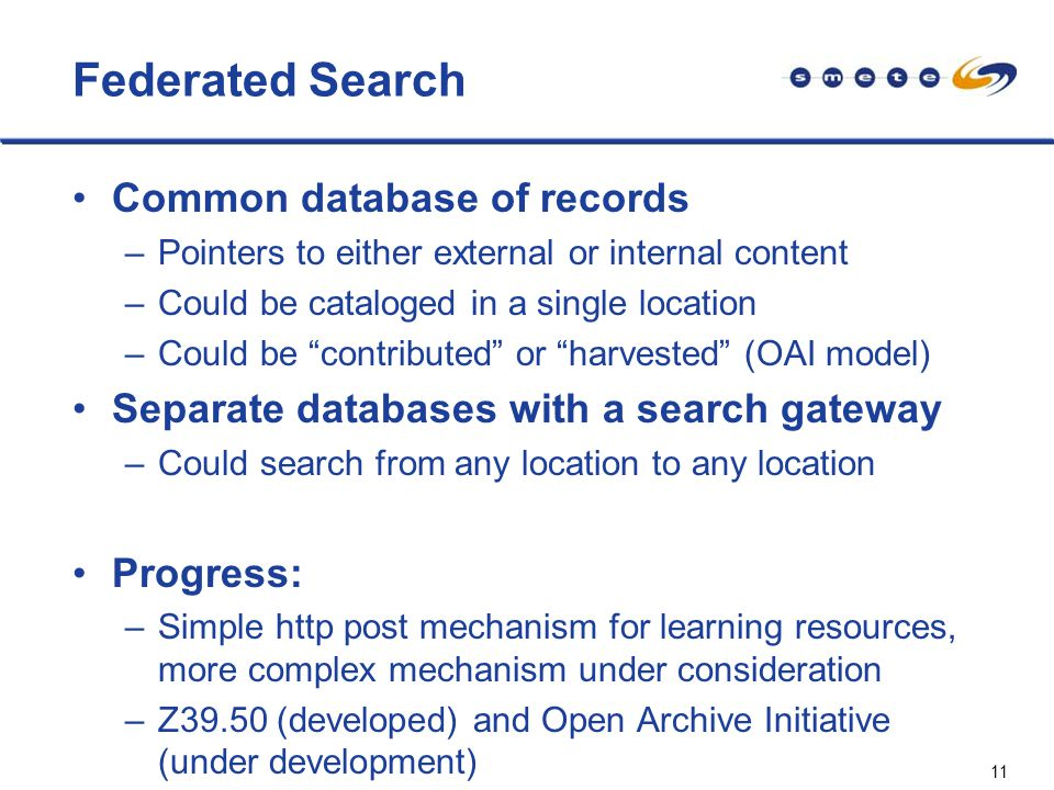 11 Federated Search Common database of records –Pointers to either external or internal content –Could be cataloged in a single location –Could be contributed or harvested (OAI model) Separate databases with a search gateway –Could search from any location to any location Progress: –Simple http post mechanism for learning resources, more complex mechanism under consideration –Z39.50 (developed) and Open Archive Initiative (under development)