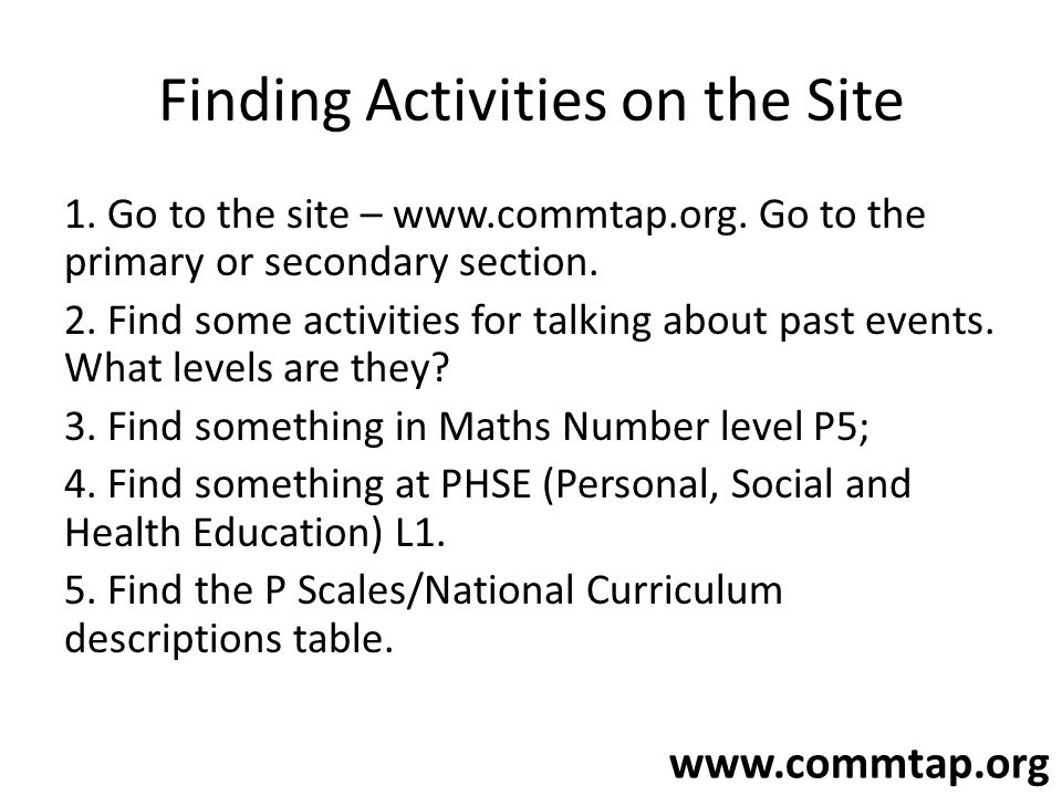 Finding Activities on the Site 1. Go to the site – www.commtap.org. Go to the primary or secondary section. 2. Find some activities for talking about