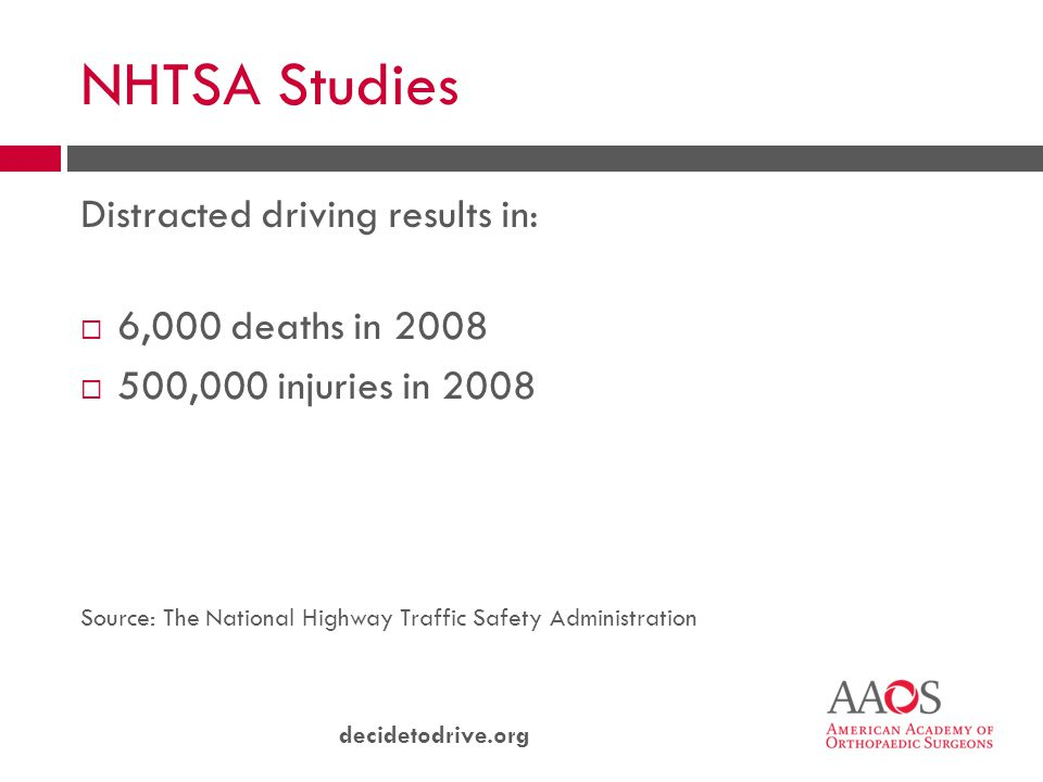 decidetodrive.org NHTSA Studies Distracted driving results in:  6,000 deaths in 2008  500,000 injuries in 2008 Source: The National Highway Traffic Safety Administration