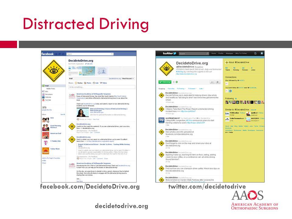 decidetodrive.org facebook.com/DecidetoDrive.orgtwitter.com/decidetodrive Distracted Driving