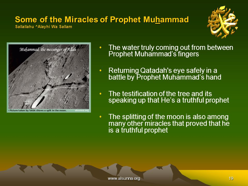 www.alsunna.org19 Some of the Miracles of Prophet Muhammad Sallallahu ^Alayhi Wa Sallam The water truly coming out from between Prophet Muhammad's fingers Returning Qatadah s eye safely in a battle by Prophet Muhammad's hand The testification of the tree and its speaking up that He's a truthful prophet The splitting of the moon is also among many other miracles that proved that he is a truthful prophet