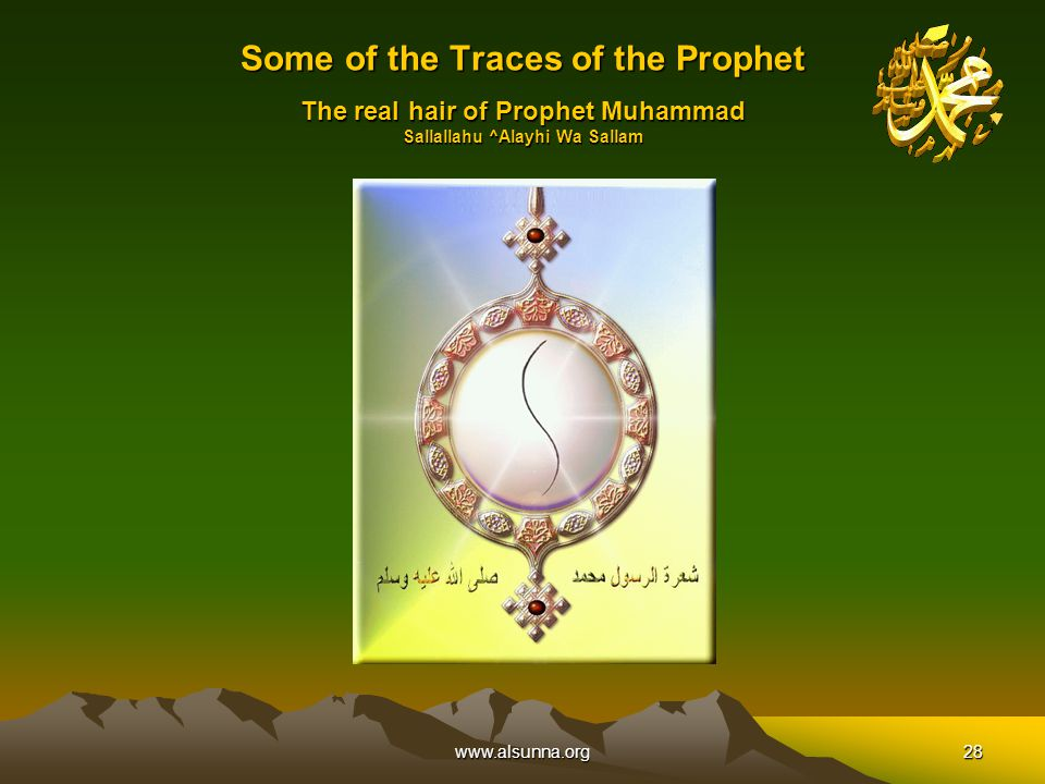 www.alsunna.org28 Some of the Traces of the Prophet The real hair of Prophet Muhammad Sallallahu ^Alayhi Wa Sallam
