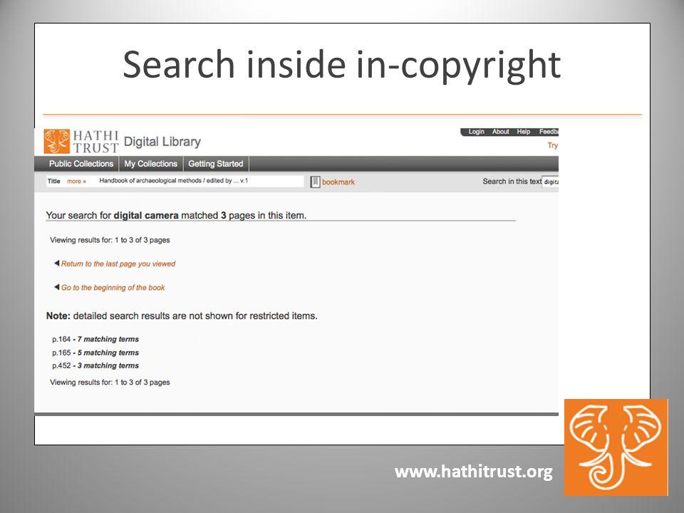 www.hathitrust.org Search inside in-copyright