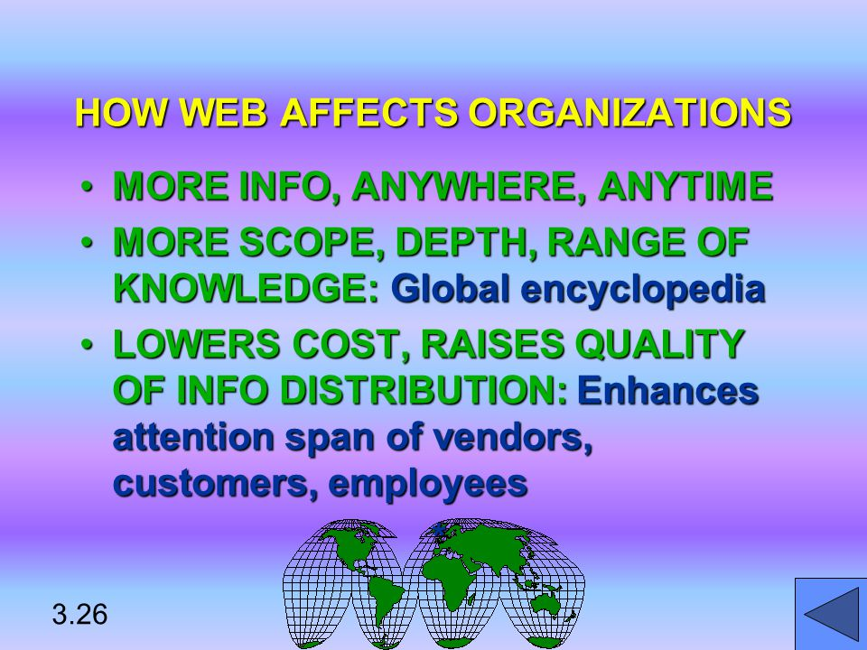 HOW WEB AFFECTS ORGANIZATIONS MORE INFO, ANYWHERE, ANYTIMEMORE INFO, ANYWHERE, ANYTIME MORE SCOPE, DEPTH, RANGE OF KNOWLEDGE: Global encyclopediaMORE SCOPE, DEPTH, RANGE OF KNOWLEDGE: Global encyclopedia LOWERS COST, RAISES QUALITY OF INFO DISTRIBUTION: Enhances attention span of vendors, customers, employeesLOWERS COST, RAISES QUALITY OF INFO DISTRIBUTION: Enhances attention span of vendors, customers, employees* 3.26