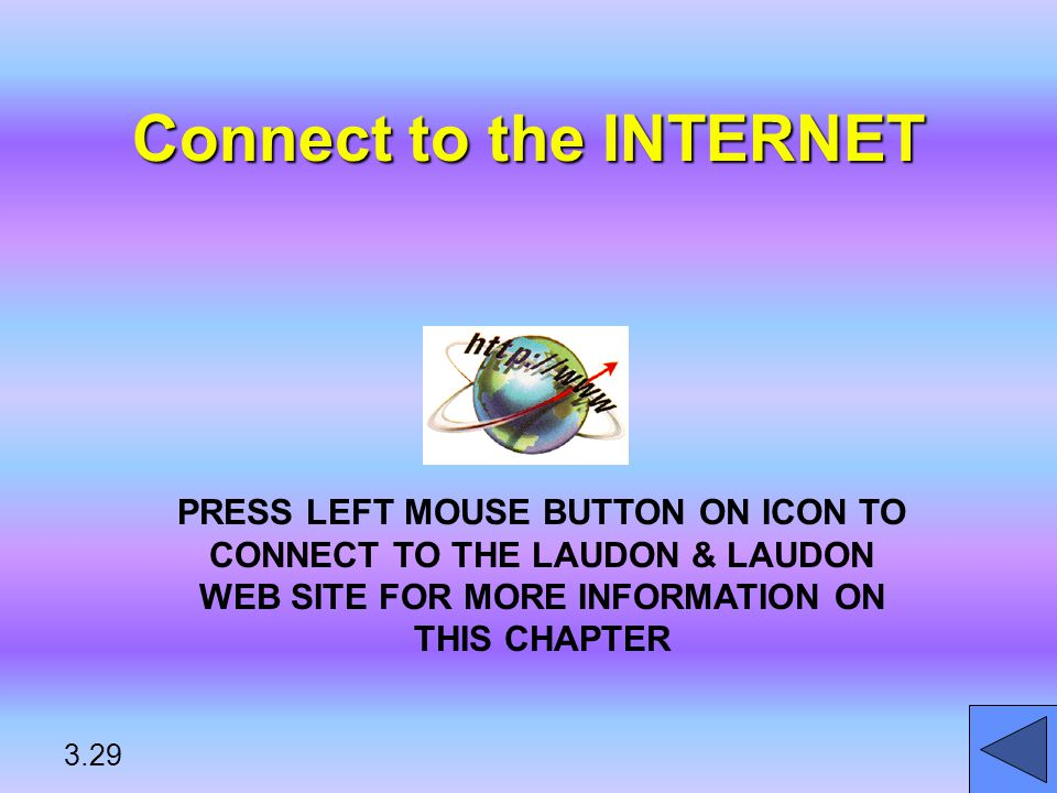 Connect to the INTERNET PRESS LEFT MOUSE BUTTON ON ICON TO CONNECT TO THE LAUDON & LAUDON WEB SITE FOR MORE INFORMATION ON THIS CHAPTER 3.29