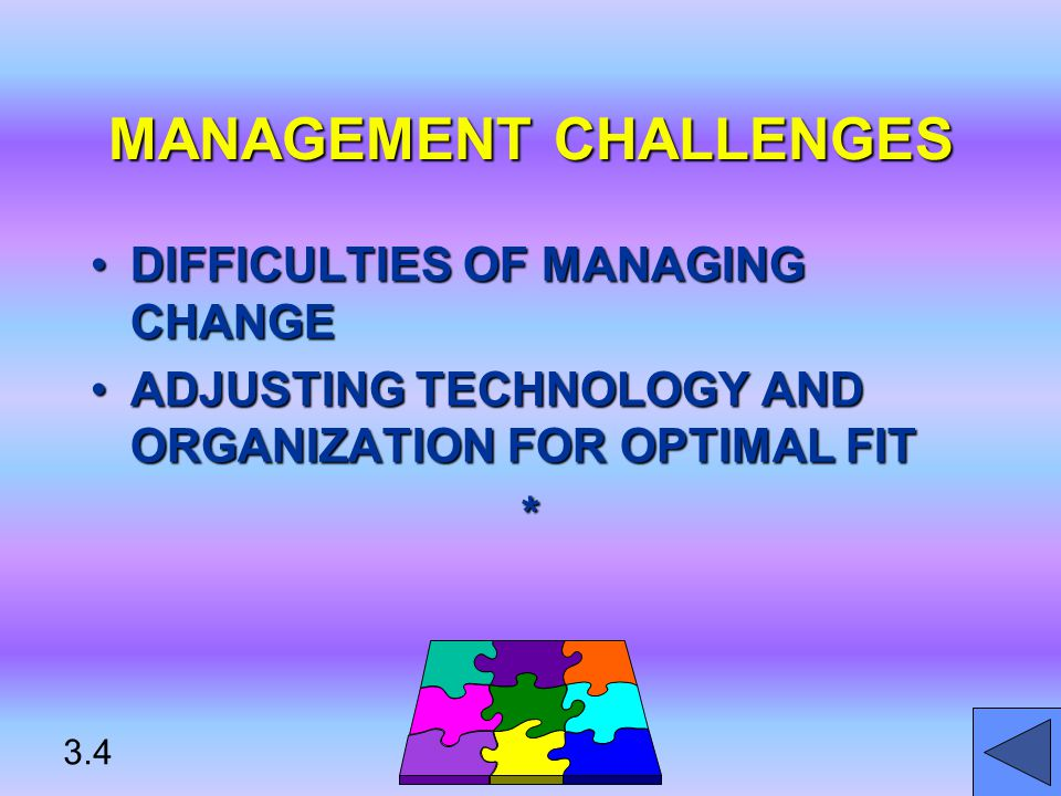 MANAGEMENT CHALLENGES DIFFICULTIES OF MANAGING CHANGEDIFFICULTIES OF MANAGING CHANGE ADJUSTING TECHNOLOGY AND ORGANIZATION FOR OPTIMAL FITADJUSTING TECHNOLOGY AND ORGANIZATION FOR OPTIMAL FIT* 3.4