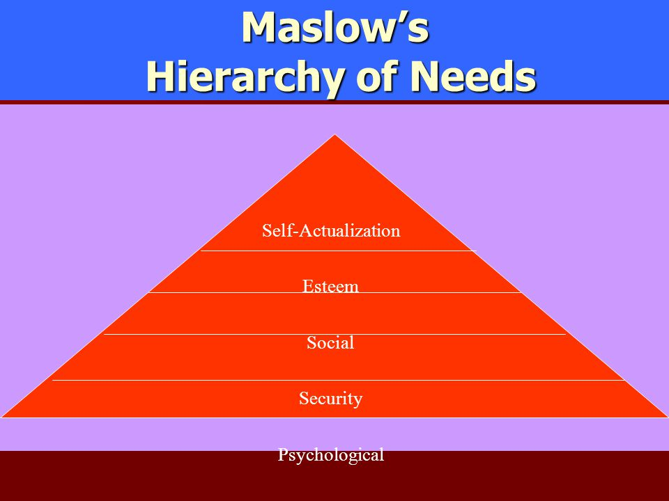 Maslow's Hierarchy of Needs Self-Actualization Esteem Social Security Psychological