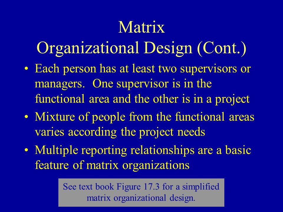 Matrix Organizational Design (Cont.) Each person has at least two supervisors or managers.