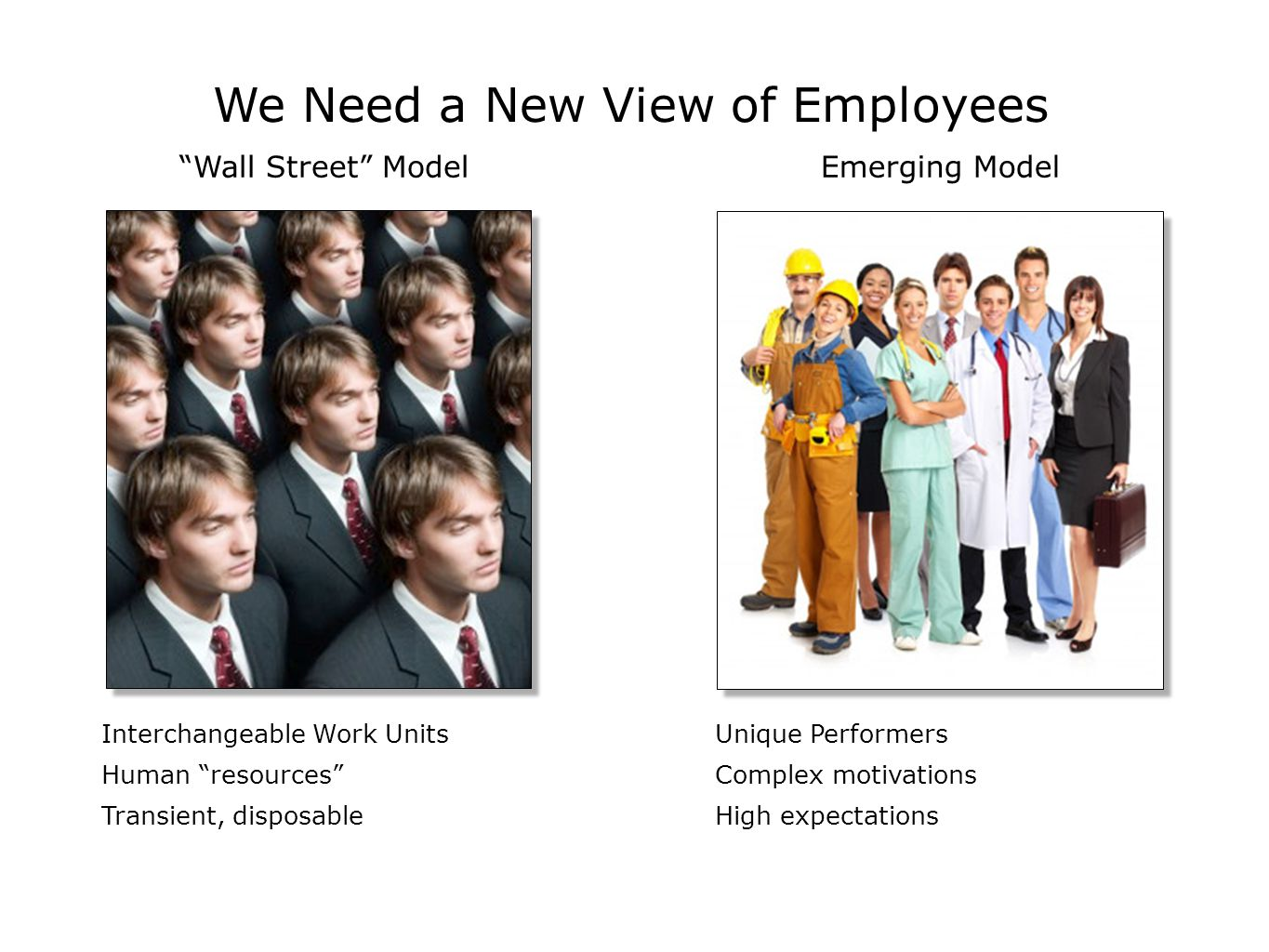 "We Need a New View of Employees Interchangeable Work Units Human ""resources"" Transient, disposable Unique Performers Complex motivations High expectat"