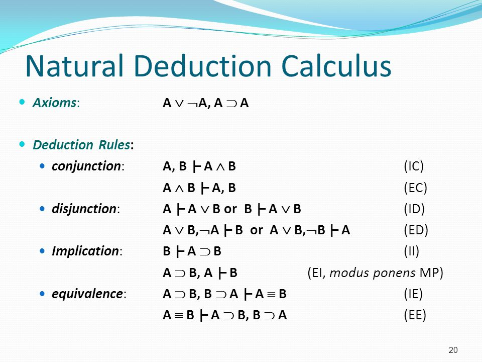 Natural Deduction Calculus Axioms:A   A, A  A Deduction Rules: conjunction:A, B |– A  B (IC) A  B |– A, B (EC) disjunction:A |– A  B or B |– A  B(ID) A  B,  A |– B or A  B,  B |– A(ED) Implication:B |– A  B(II) A  B, A |– B (EI, modus ponens MP) equivalence:A  B, B  A |– A  B(IE) A  B |– A  B, B  A(EE) 20